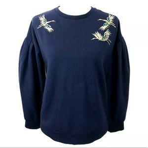 a new day Sweaters - A new day Navy Crane Bird Embroidered Sweater S
